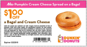 Dunkin Donuts Coupons - Printable free bagel