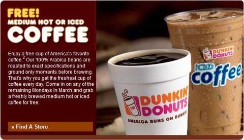 Dunkin donuts coffee coupons printable 2018