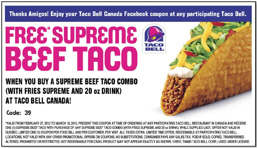 Printable coupons fast food canada