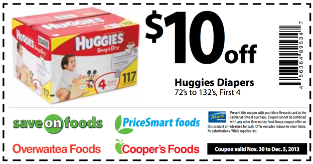 Shopping Tips for Huggies: 1. A jumbo package of Huggies diapers should never cost you more than $ Big box stores typically run gift card and coupon deals every three months so stock up when you can! 2. Huggies diaper coupons can be as high as $ off and Huggies baby wipes coupons are generally $ off.