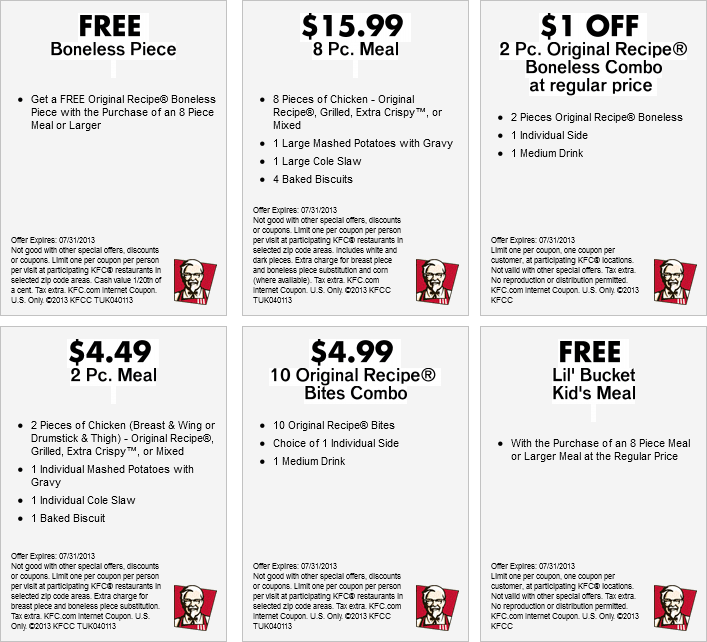 KFC Fast Food Restaurants coupons - codes (3)