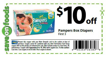 Pampers Coupons Printable   Diapers and food coupon  3 oDrsPapM