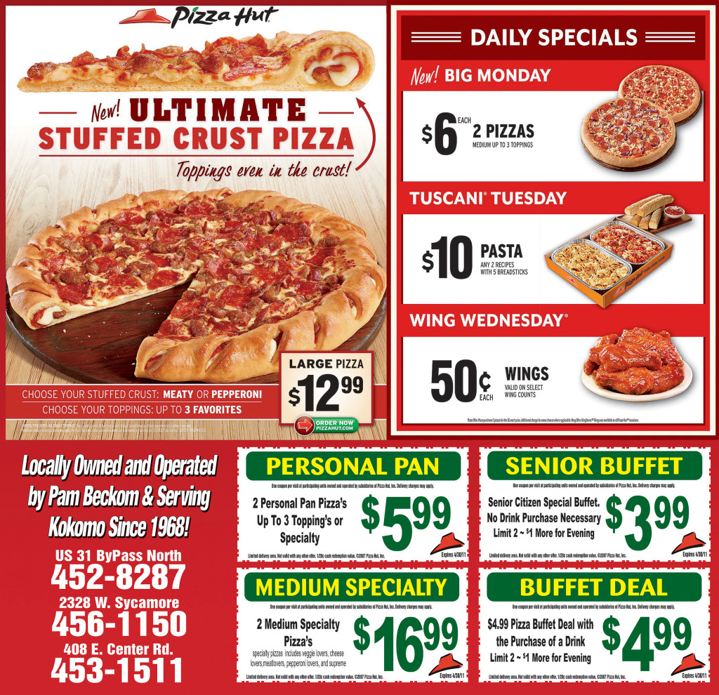 Pizza Hut is a restaurant chain that offers pizzas, pastas and sidelines and is committed to provide its customers an unforgettable dining experience. It is popularly known for its pizzas with thick crust and has around stores in Australia.