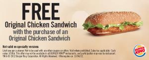 PrintableBurger King Fast Food Restaurants Coupons sandwich