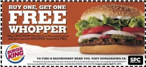 PrintableBurger King Fast Food Restaurants Coupons wopper
