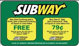 Subway coupons and codes valid new SUBway Restaurant (1)