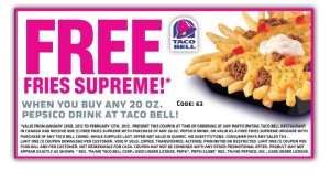 Taco Bell Fast Food Restaurants coupons free fries
