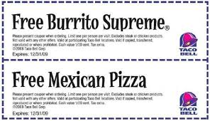 burritos Taco Bell Fast Food Restaurants coupons mexican pizza free