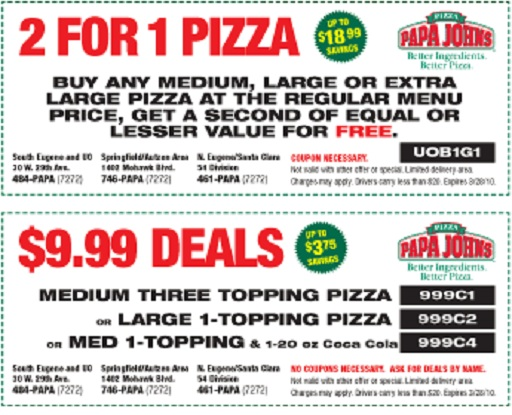 Coupon codes papa johns