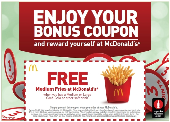 McDonalds Coupons. All Coupons (14) Promo Codes (1) Online Sales (13) In-Store Offers (0) $5 OFF. McDonald's is offering a free big mac once a month for a year when you purchase a $50 Arch card in-stores. Burger King is offering a new promotion called the