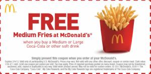 mcdonald's sandwich coupon and printable FF Fries