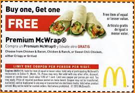 mcdonald's sandwich coupon and printable snack wrap