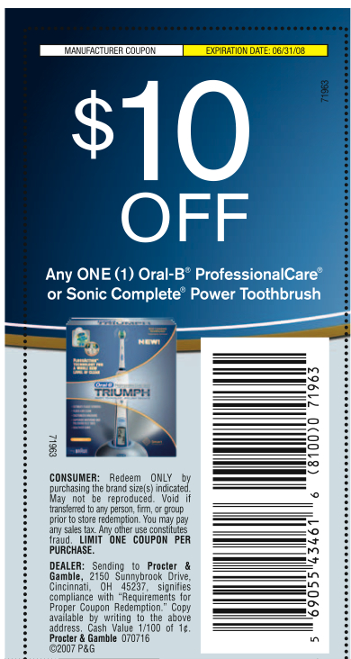 This coupon is for $10 off one of their Sonicare Flexcare, Flexcare+ or DiamondClean Rechargeable Toothbrush. This deal is found at the Coupon Network. They've got a number of discounts available. This brand is known for their electric toothbrushes. They currently offer a variety of toothbrushes that range for as low as $49 all the way to $