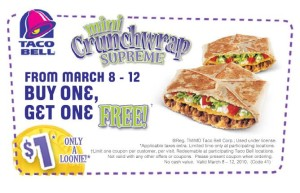 sandwich box and drink Taco Bell Fast Food Restaurants coupons