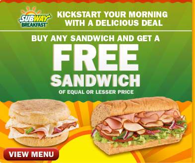 Subway discount coupons canada