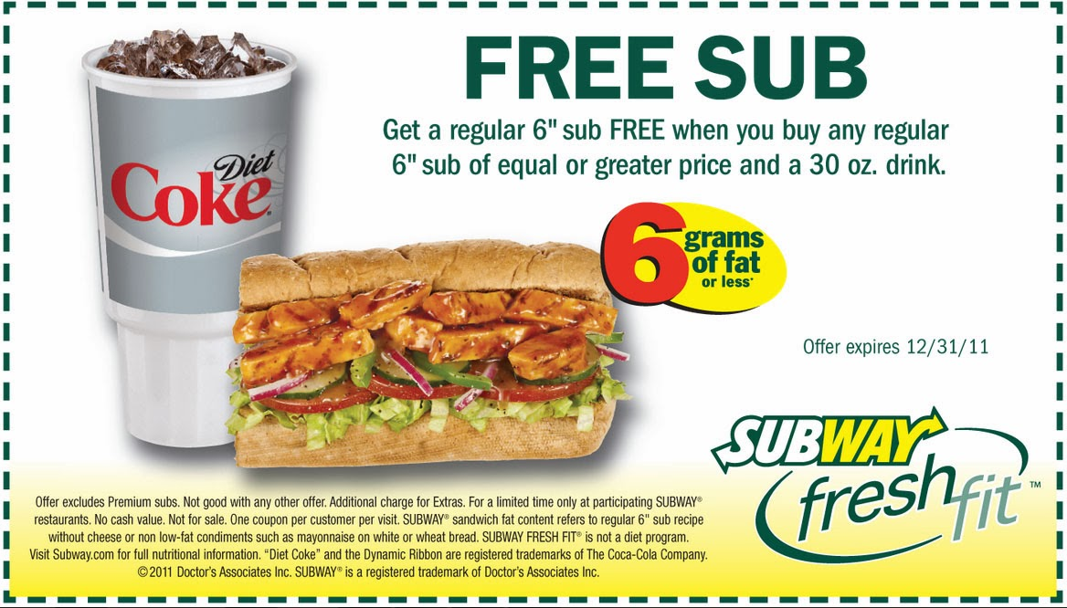 Free Subway Printable Coupons