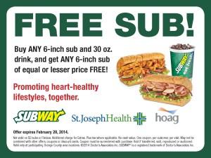 free sub - subway sandwich coupons