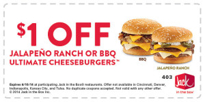 $1 printable coupon on a Buttery Jack in the box Classic or Bacon & Swiss burger.