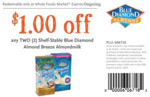 Coupons - For Blue Diamond Almond Milk drinks