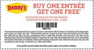 Dennys Prinytable Coupons - Ongoing BOGO