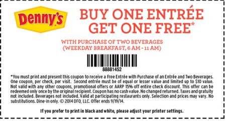 Dennys online coupons