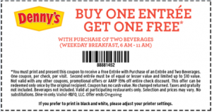 Dennys Prinytable Coupons - Ongoing family codes