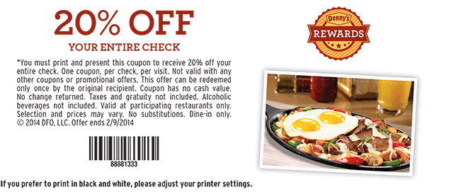 Dennys coupon / Fire it up grill