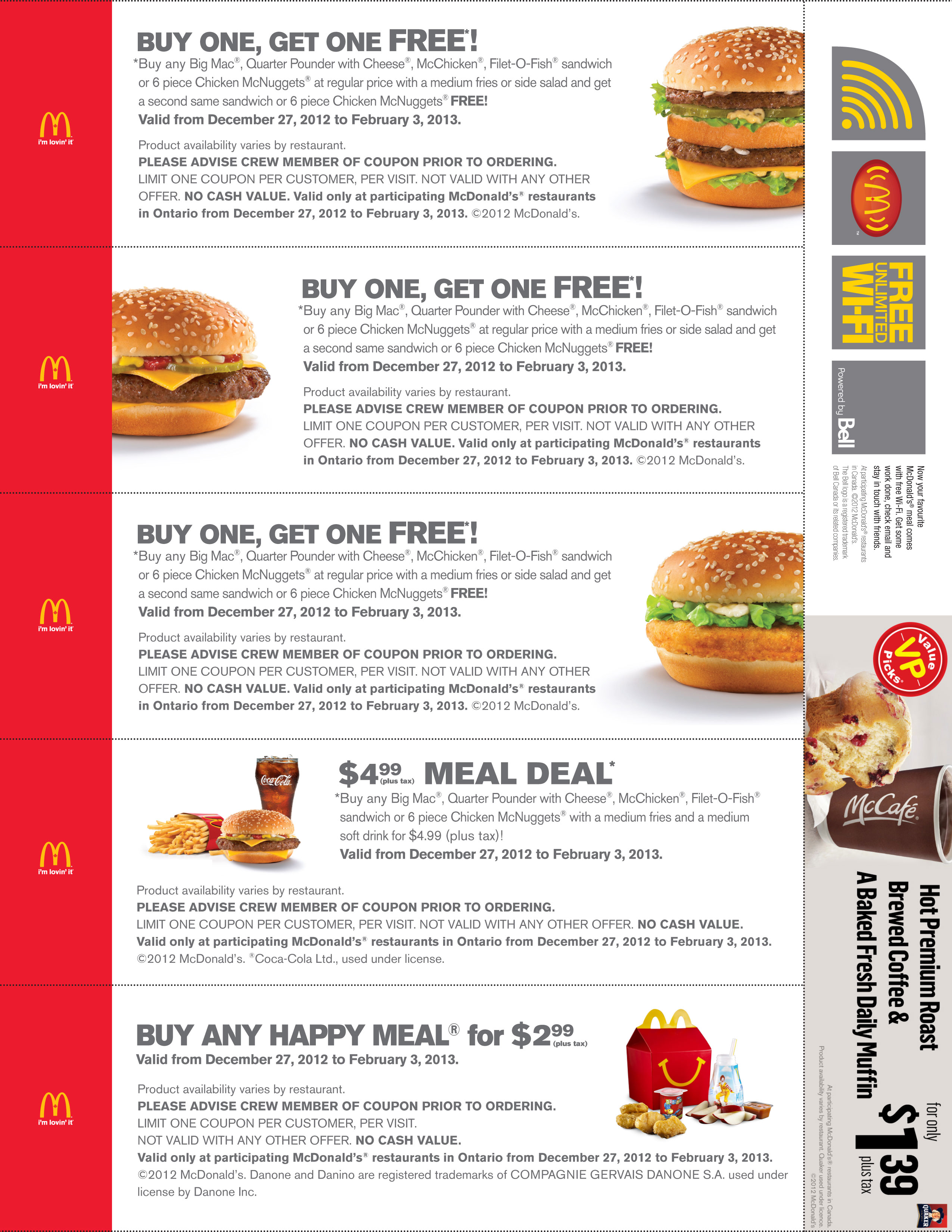 Mcdonald s specials bogo print free coupon 4