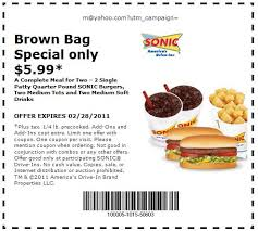 picture about Sonic Printable Coupons titled Sonic Printable Discount coupons brown bag food stuff Printable Discount coupons