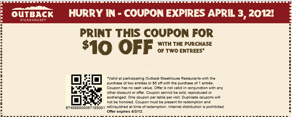 Outback steakhouse coupons 2019