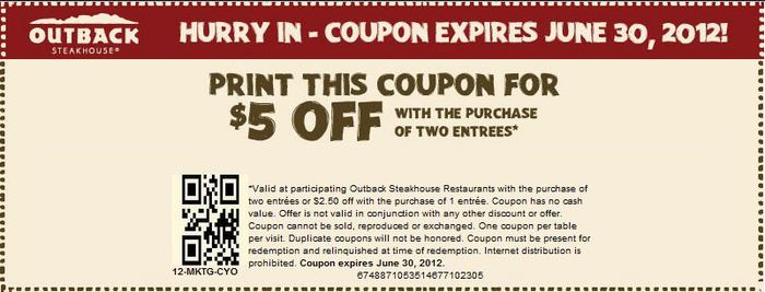 Outback coupons online