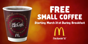 free McDonalds Coupon Small McCafe Coffee