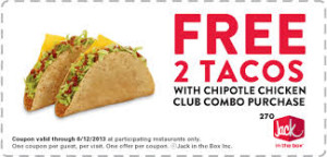 free tacos - ack in the Box Coupon
