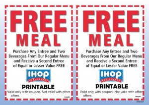 iHop Printable coupons free entree
