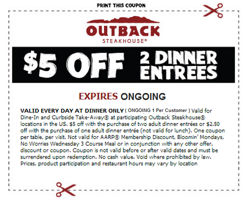How to use a Outback Steakhouse coupon Outback Steakhouse invites customers to enjoy great savings on their favorite Australian inspired cuisine. The chain restaurant has offers such as buy one lunch get one free on certain days. Similar promotional coupons can be printed at the Outback Steakhouse official site%().