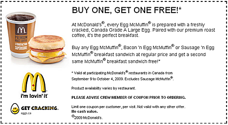 picture relating to Egg Coupons Printable known as printable mmcdonalds mcin sandwich discount coupons absolutely free (1