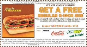 Coupons for subway USA and Canada