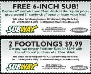 FREE SUBWAY COUPONS 2015