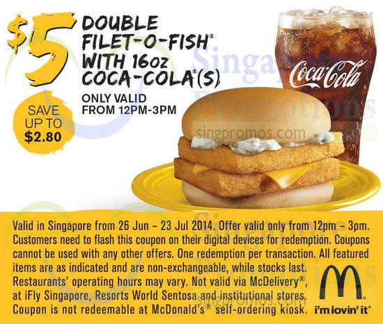 MCDONALDS FREE COUPON - Sandwich coupon filt o fish burger and french fries (2)