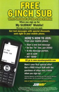 Register for SUBWAY Mobile Coupon Codes (1)