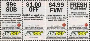 Subway Mobile Coupon Codes - For Menu Items  (5)