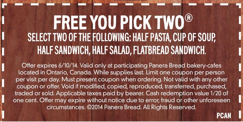 Panera bread discount coupons
