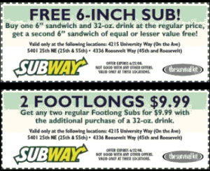 free Subway Menu Coupons chips and drink