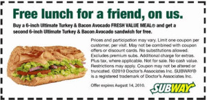 subway printable coupons - 6 INCH SANDICH