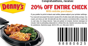 Dennys Printable Coupons dinner for 4