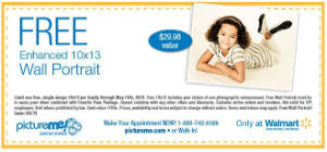 free wallmart portrait coupon 10x13 wall portrait WALL Mart
