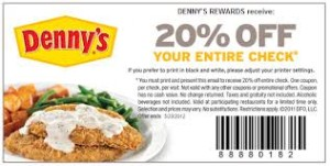 20 off entire check Dennys Coupons Breakfast meal  (2)