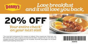 Dennys Coupons valid ongoing Breakfasts