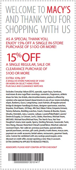 20 off get new printable Macy's Coupons