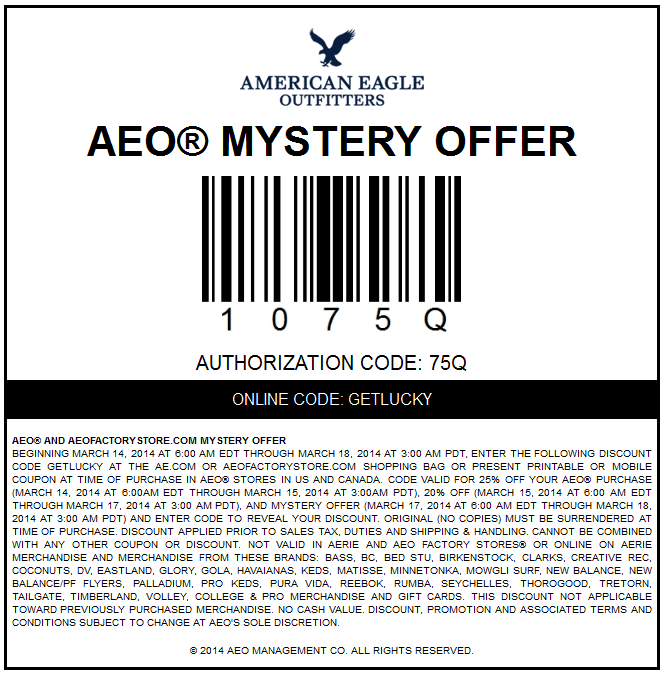 American eagle printable coupons august 2019